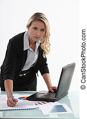 Saleswoman in office