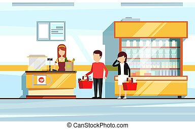 Saleswoman in supermarket interior. People standing in store checkout line. Vector flat illustration of mall