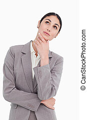 Saleswoman in thinkers pose