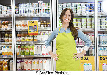 Saleswoman Standing With Hands On Hip Against Refrigerator -...