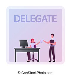 saliência, eisenhower, matriz, pessoas negócio, responsibilities., delegar, management., autoridade, produtivo, ilustração, caricatura, personagem, vetorial, princípios, eficaz, empregado, dar, tarefa, companhia