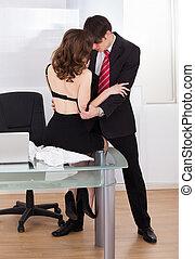 saliência, executiva, escritório, seduzir