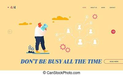 saliência, personagem, empregados, aterragem, ilustração, companhia, eficaz, produtivo, vetorial, template., olhar, página, caricatura, ceo, responsabilidades, seta, scheme., liderança, gerência, delegar, autoridade