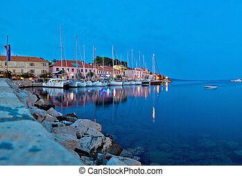 Sali village harbor evening view, island of Dugi Otok, Croatia