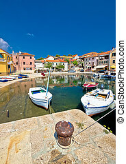 Sali village on Dugi otok island waterfront vertical view, Dalmatia, Croatia