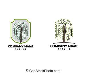 salice, set, logotipo, simbolo, albero, vettore
