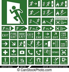 salida, conjunto, seguridad, signs.