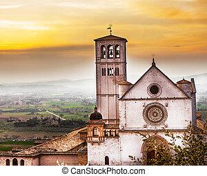 salida del sol, assisi, c/, iglesia, francis