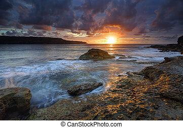salida del sol, australia, malabar, bahía larga