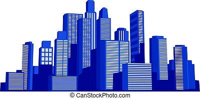 salida del sol, cityscape, vector, ilustración común