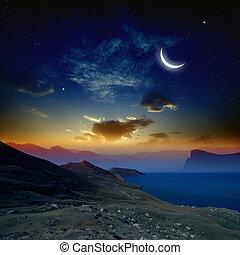 salida del sol, con, luna