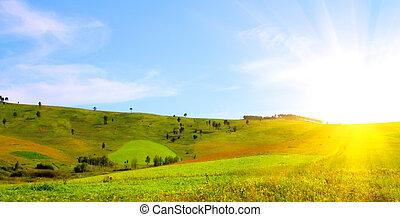 salida del sol, de, el, colinas