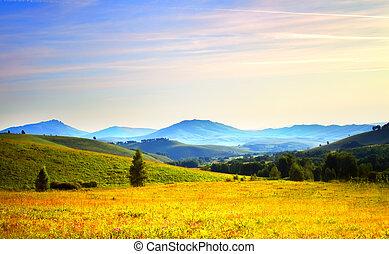 salida del sol, de, el, montañas., russia., altai