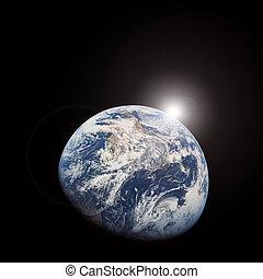 salida del sol, de, espacio