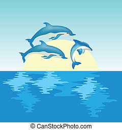 salida del sol, delfines