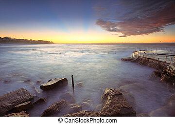 salida del sol, en, bronte, playa, australia