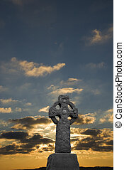 salida del sol, en, cruz céltica