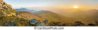 salida del sol, en, el, carpathian, montañas