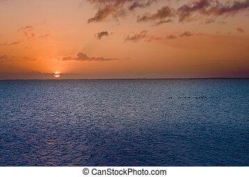 salida del sol, en, el, lago