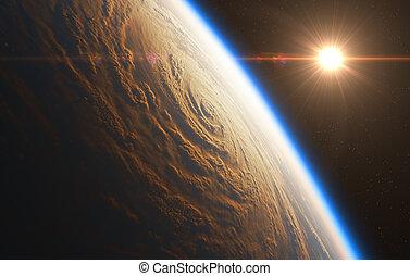 salida del sol, en, el, plano de fondo, de, huracán