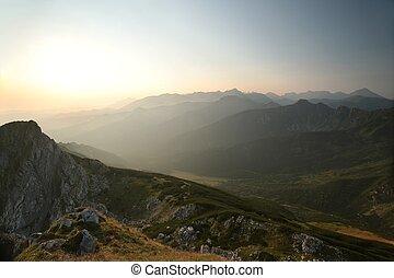 salida del sol, en, el, tatra, montañas