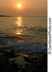 salida del sol, en, gerrish, isla