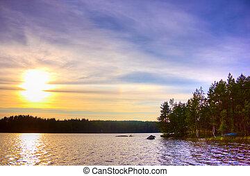 salida del sol, en, lago