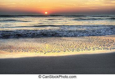 salida del sol, en, melbourne, playa, florida