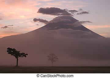 salida del sol, en, monte fujiyama, ii