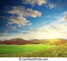 salida del sol, en, pradera verde