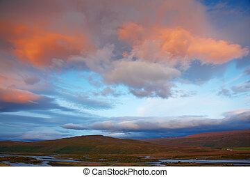 salida del sol, en, skjafandafljot, río, islandia