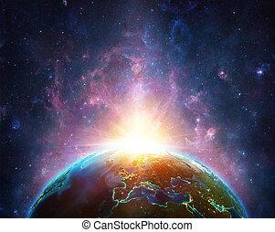 salida del sol, en, tierra, planeta, -, europa, vista