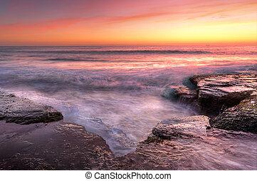salida del sol, en, wombarra, nsw, australia