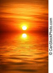 salida del sol, encima, agua