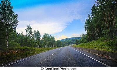 salida del sol, encima, carretera