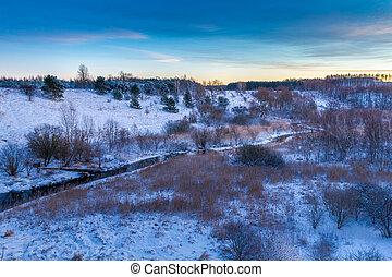 salida del sol, encima, el, invierno, valle