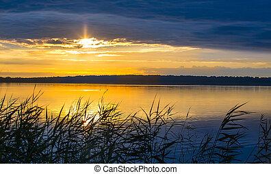 salida del sol, encima, el, lake.