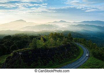 salida del sol, encima, el, montañas, en, doi, inthanon