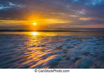 salida del sol, encima, el océano atlántico, en, locura, playa, sur, carolina.