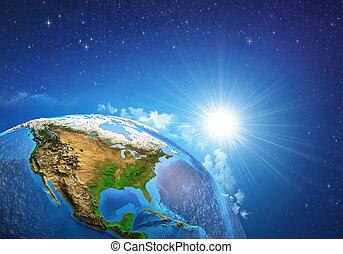 salida del sol, encima, la tierra