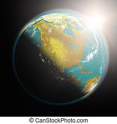 salida del sol, encima, norteamérica