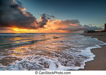 salida del sol, encima, océano atlántico, en, florida.
