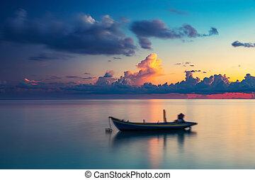 salida del sol, encima, océano