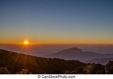 salida del sol, encima, onda, montaña