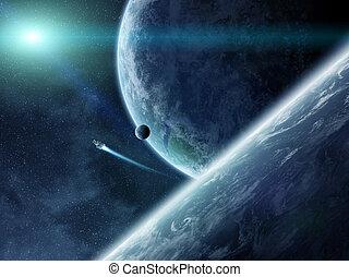 salida del sol, encima, planetas, en, espacio