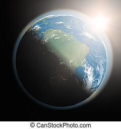 salida del sol, encima, sudamérica