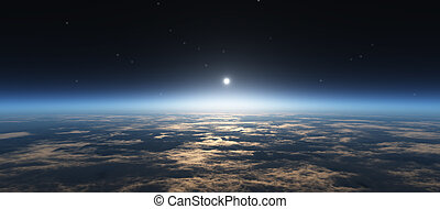salida del sol, espacio