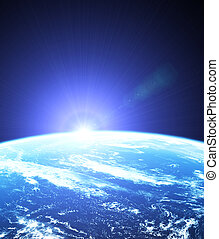 salida del sol, espacio exterior