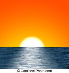 salida del sol, ilustración