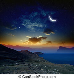 salida del sol, luna